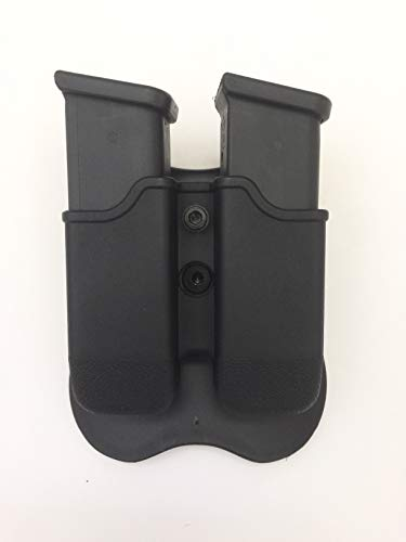 Glock Double Magazine Holder Paddle Pouch fit (17,19,22,23,26,27,31,32,33,34,35,37,38,39,43) Gen 1 2 3 4 5 9mm 40 Magazine, Also fit sig 229 Retention Adjustable & 360 Degree Rotation - Polymer Black