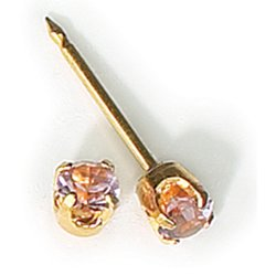 Inverness 24kt Gold Plated Birthstone Gems 3mm Piercing Earrings June Alexandrite 86C or 86E