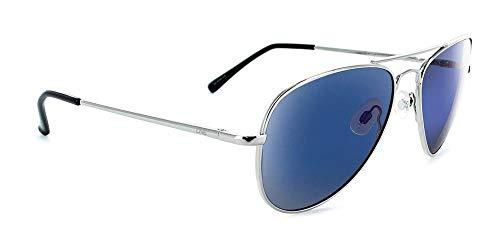 Optic Nerve Estrada, Shiny Silver Frame, Polarized Smoke with Blue Mirror Lens