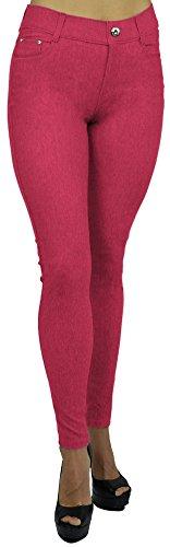 Belle Donne Women's Jeggings Pull-On Look Alik Denim Jeans - Stretchy Tight - Fuchsia/