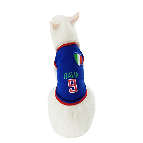Yizhi Miaow Dog Soccer Jersey World Cup Pet T-Shirt-Dog Costume to Celebrate The Russia 2018 FIFA Italia Team Dog/Cat Shirt Jerseys Size S for Cats, Mini Dogs ()