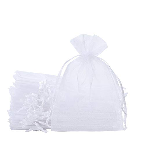 SumDirect 100PCS 6x9 Inches Organza Gift Bags with Drawstring(White)