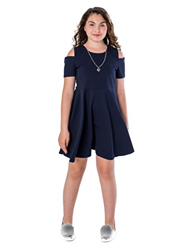 Smile You Are Beautiful Girls Plus Size Cold Sholder Textured Skater Dress With Necklace Navy 14.5 - S