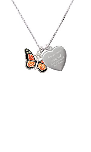 Large Monarch Butterfly with 6 AB Crystals You are more Loved Heart Locket Necklace