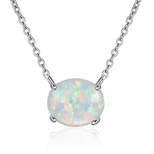CiNily White Opal Pendant Necklace 18K Wihte Gold Plated Women Jewelry Pendant Necklace