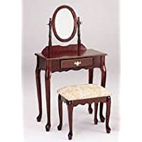 Classic Heirloom Cherry Vanity Set with Mirror and Bench by Acme Furniture