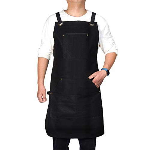 VWELL Upgrade Waxed Canvas Cooking Apron - Professional Chef Apron for Kitchen BBQ and Grill with 6 Pockets+Tool Loop+Waterproof Zipper+Quick Release Buckle, Adjustable M to XXL