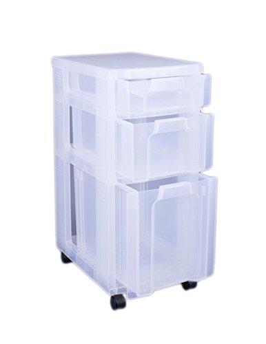 Really Useful Cajonera pl/ástica 3 cajones de 7, 12 y 25 litros transparente