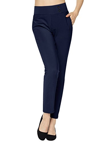 2LUV Women's Pull On Stretch Solid Ankle Dress Pants w/Side Pocket Navy L(SSP-YS07-SOLID)