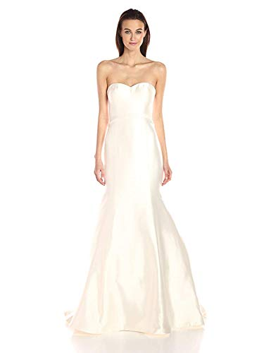 UNICLIU Women's London Silk Mikado Wedding Gown White ()