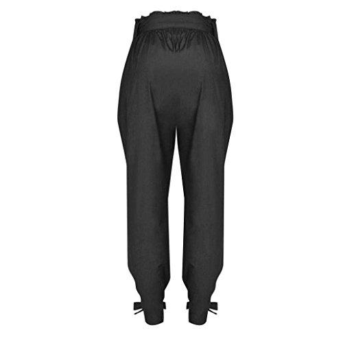 Niñas Tela Tendencia Negro Verano Largo Alta Mujer Trousers Pants Pantalon Pantalones Fashion Cinturón Libre De Tiempo Harem Con Cintura Swag Anchos Streetwear Ropa qzTBx8