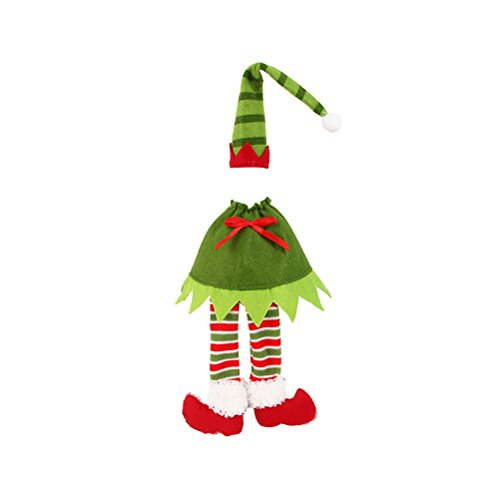 OULII Christmas Wine Bottle Cover Gift Bags Elf Christmas Table Decorations Ornaments