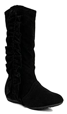 Amazon.com | Kali Footwear Girls Event Jr Faux Suede Ruffle Boots ...