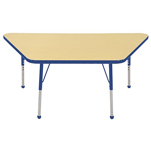 ECR4Kids Mesa Thermo-fused 30'' x 60'' Trapezoid School Activity Table, Toddler Legs w/ Ball Glides, Adjustable Height 15-23 inch (Maple/Blue) by ECR4Kids