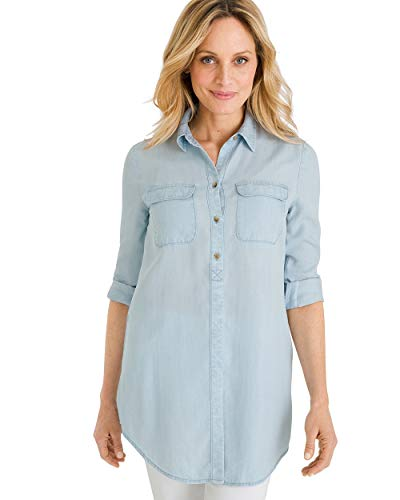 Chico's Women's Basic Denim Medium-Wash Shirt Size 20/22 XXL (4) Denim