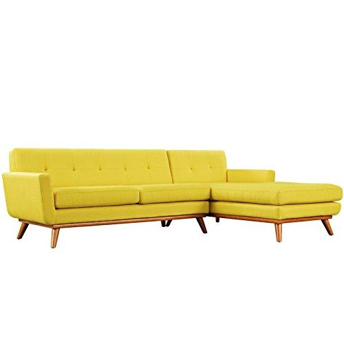 Italian Design Fabric Sectional Sofa (Modern Contemporary Urban Design Living Lounge Room Right-Facing Sectional Sofa, Yellow, Fabric)