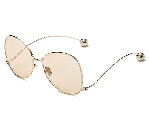 Markendesigner Degradado Marron Lente Modo Schmetterling Frauen Claro Frauen Sonnenbrille Übergroßen Brillen Sonnenbrillen claro KXLEB Metallrahmen Runde Für Marrón wUIFqx8