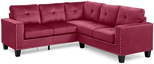Amazon.com: Glory Furniture Nailer Sectional, Maroon. Living ...