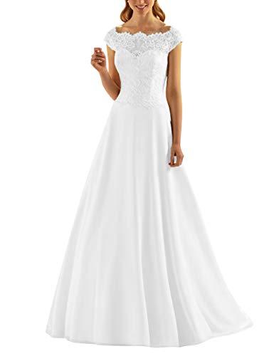 18864f55510c1 Robe Longue Blanc De Chic Femme Mariage Dentelle En Courtes Cérémonie  Vkstar® Manches Mariée Bustier 6aASAw