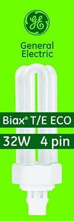 82 CRI T4 Shape GE 97632 F32TBX//841//A//ECO 32-Watt Energy Smart Ecolux Triple Tube Compact Fluorescent Light Bulb 2400 Lumens 4100K 6-Pack 4-Pin GX23q-3 Base