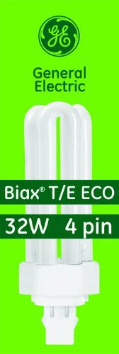 GE 97632 (25-Pack) F32TBX/841/A/ECO 32-Watt Energy Smart Ecolux Triple Tube Compact Fluorescent Light Bulb, 4100K, 2400 Lumens, 82 CRI, T4 Shape, 4-Pin GX23q-3 Base