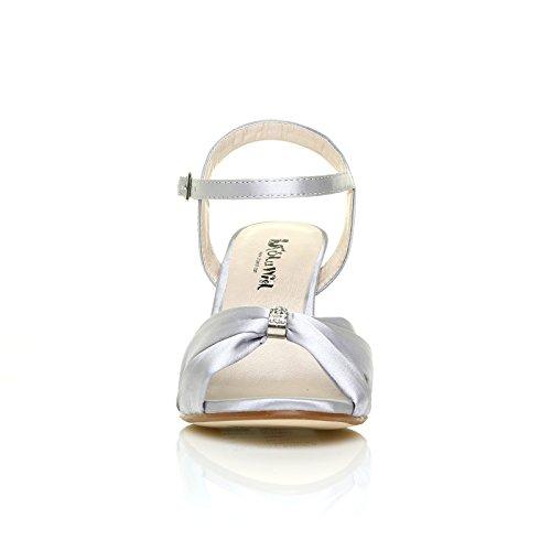 Cheville Escarpin Femme Satin Bride Mariée UK Compensé Sandale Satin ANGEL ShuWish Argenté Argenté Talon Haut fwAPq5x