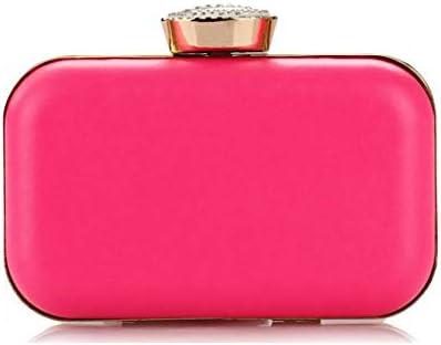 LKJASDHL レディーバッグPU女性蛍光キャンディーカラーハードシェルハンドバッグダイヤモンドワンショルダーディナーバッグチェーンスモールスクエアバッグバンケットハンドバッグカジュアルフォーマルな日常のバッグ (色 : ピンク)