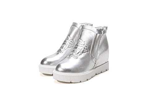 Imitated Platform Inside Silver Round Boots Heighten Leather Ladies A Toe amp;N OpxqEIw0