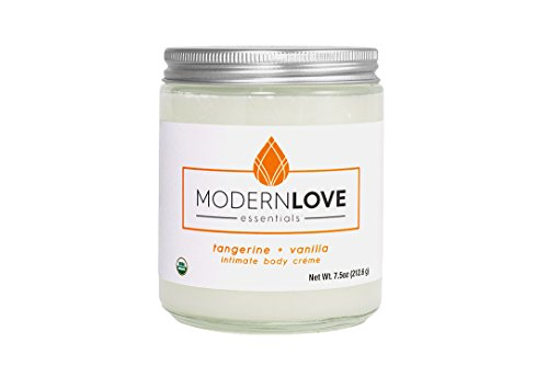 Organic Intimate Body Créme by Modern Love Essentials - Coconut Based, Organic, Natural - Flavored with Tangerine & Vanilla Essential Oils
