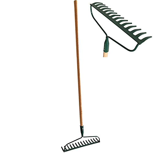 Set of 2 Garden Bow Rake Wood Handle Landscape Cultivator Gardening Tool Leveling Mulch peat Moss and Loose Heavy soils Long Handle Sweep Fall Leaves No Bending Easy Grip (Metal - Sweep Bow