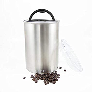 Coffee Storage Canister - Airtight Container Preserves Food Freshness - AirScape Steel - 64 fl. oz - Brushed Steel