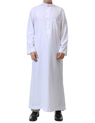 Muslim Mens Clothing Arabic Dresses-Plus Size East Islamic Clothing Long Abaya Kaftan Maxi Cotton Robe (White,52)
