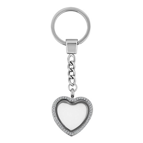 ThirdTimeCharm Living Memory Floating Locket Keychain Magnetic Closure Key Ring Jewelry (Big Heart)