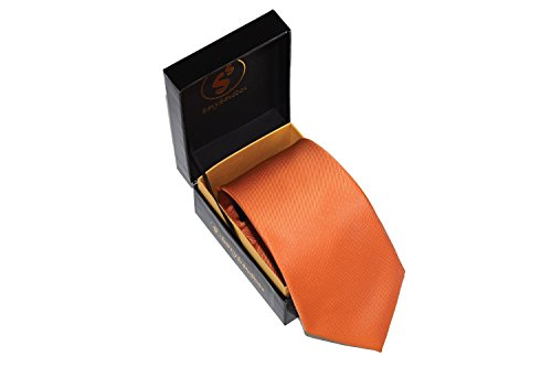 Men's Solid Color Tie Classic Designer 3 inch Wide Necktie in Gift Box | Burnt Orange