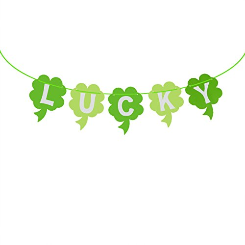 St Patricks Day Baby Shower - OULII St Patrick's Day Decorations Shamrock Banner LUCKY Irish Four Leaf Clover Garland Flags