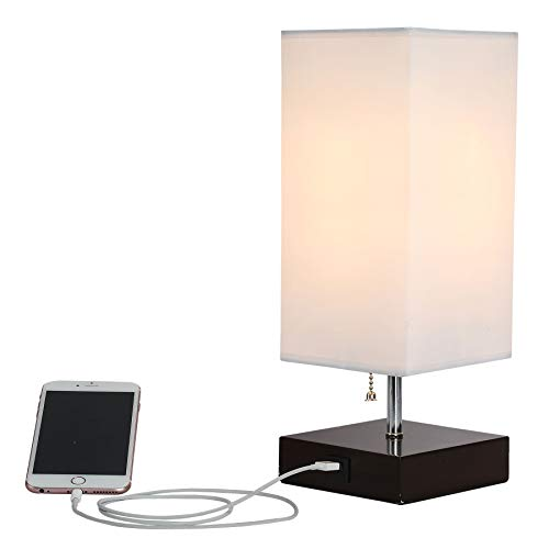 CO-Z Table Lamp with Solid Wood Base & USB Charger, Minimalist Bedside Lamp Fabric White Shade, 10