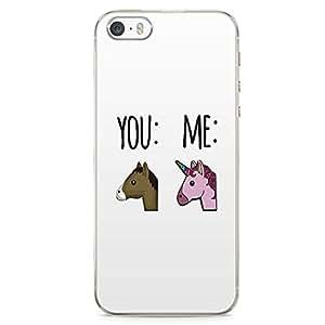 iPhone SE Transparent Edge Phone case Emoji Phone Case Unicorn Phone Case Instagram iPhone SE Cover with Transparent Frame