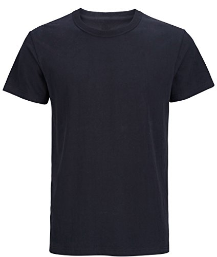 (Men's Heavy Cotton Thick Plain T-shirts (XL, Black) )