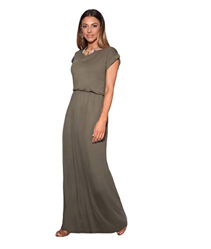 3269-KHA-18: KRISP Maxi Dress,Khaki,UK 18/US 14
