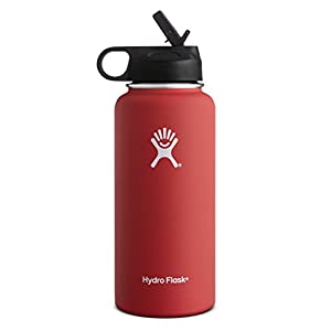 Hydro Flask Vacuum Insulated Stainless Steel Water Bottle Wide Mouth with Straw Lid (Lava, 40-Ounce)