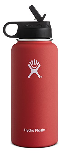 Hydro Flask Vacuum Insulated Stainless Steel Water Bottle Wide Mouth with Straw Lid (Lava, 32-Ounce)