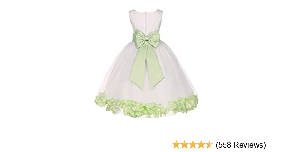 56f369d3f552 Amazon.com  Wedding Pageant Flower Petals Girl Ivory Dress with Bow ...