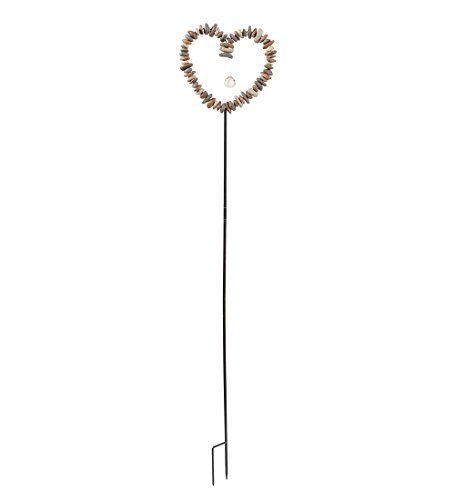 Resin Stake - Wind & Weather DEC Statuary Rock Heart Decorative Garden Stake, Red