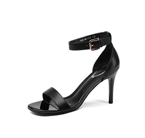 Hauts Femmes Femmes Simple Slim Cuir à LBLX Sandales Open Talons Toe Véritable pour Noir Chaussures de d'été Mode en TqZBw4Z1