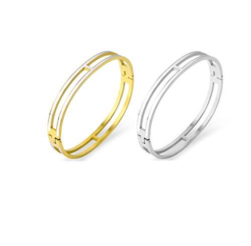 Fashion Titanium Steel Bracelets Buckle Bangle Love Bracelet Enamel Bracelet Jewelry for Women(8mm 2white)