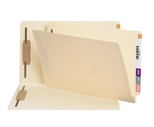 Smead 100% Recycled End Tab Fastener File Folder, Shelf-Master Reinforced Straight-Cut Tab, 2 Fasteners, Legal Size, Manila, 50 per Box ()