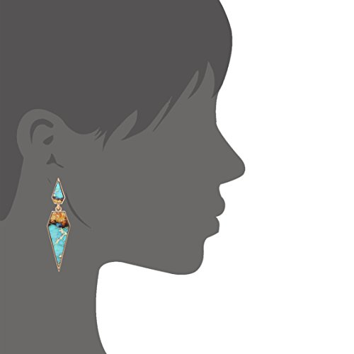 Bohemian Wood And Marble Effect Pentagon Shaped Drop Statement Earrings by BONALUNA (Image #2)