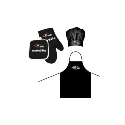 Pro Specialties Group NFL Baltimore Ravens Team Logo Barbeque Apron, Chef's Hat and Pot Holder Deluxe Set