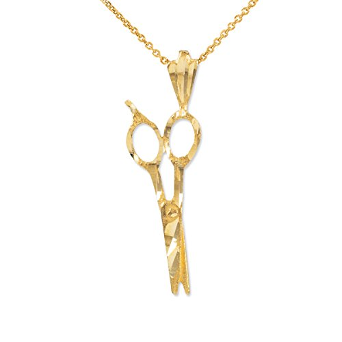 Vintage-Style 14k Yellow Gold Hair Stylist Scissor Charm Necklace, 22