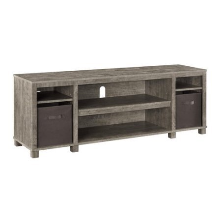 Mainstays TV Stand with Bins for TVs up to 65'', Multiple Colors (Gray) by Mainstay*